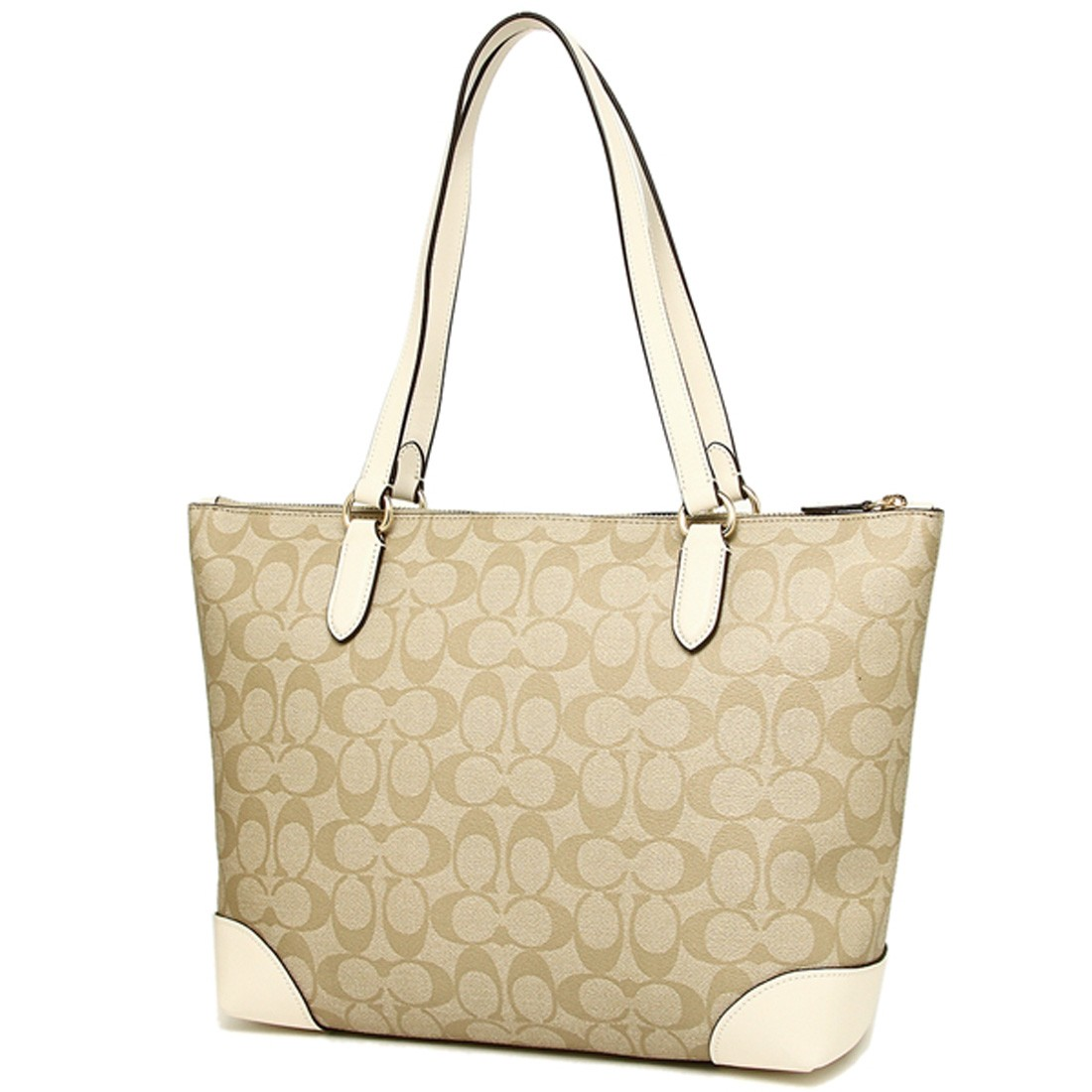 edf5c8bb Details about NWT COACH Zip Top Shoulder Signature Leather Handbag Purse  Tote Bag Brown White