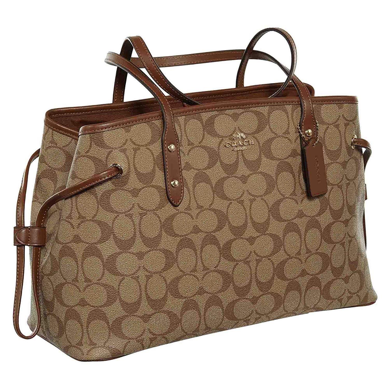 Details About Nwt Coach Drawstring Carryall Shoulder Bag Signature Leather Purse Handbag Gold